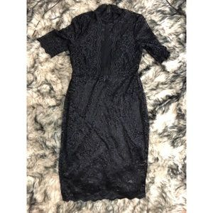🎱 Express | Black Lace Knee Length Dress